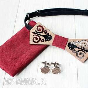 Zestaw drewniana muszka poszetka spinki folk czerwony muchy