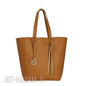 MANZANA duża torba klasyczna 2w1 karmelowa, torba, torebka, damska, 2w1,