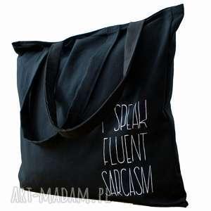 Czarna torba na ramię I speak fluent sarcasm, bawełna, ręcznie-malowane, duża-torba