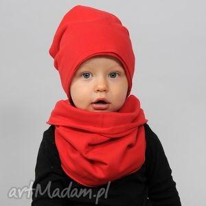 ubranka czapa zimowa podwójna czerwona, bawełna, handamde, ciepła, podwójna