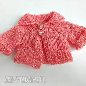 Pluszowy pan miś w jasno czerwonym sweterku - handmade
