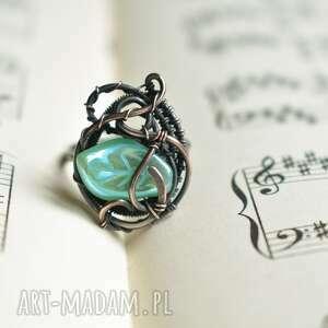 listek - pierścionek wire wrapping z miedzi, miedziany