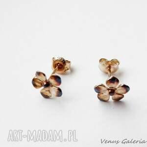 Kolczyki - Fiołki mini brąz, biżuteria, srebro, kolczyki