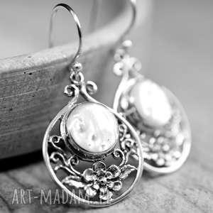 925 srebrne kolczyki z masą perłową, perły, masa, perłowa, prezent, ślub, wesele