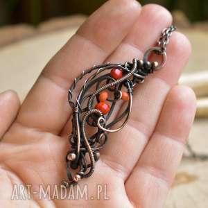 naszyjniki jarzębina - naszyjnik z wisiorem kryształkami szklanymi, wisior