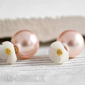 ręcznie zrobione kolczyki podwójne kolczyki kwiat i różowa perła
