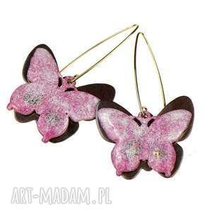 Prezent Kolczyki z różowymi motylami c321, kolczyki-z-motylami, kolczyki-motyle
