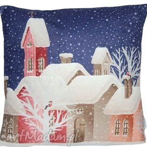 ręczne wykonanie pomysły na upominki świąteczne poduszka zimowa wzór