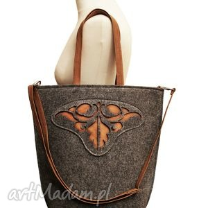 shopper bag folk 2 - czech draft na zamek, torba, shopper, filcowa, rozeta, szara