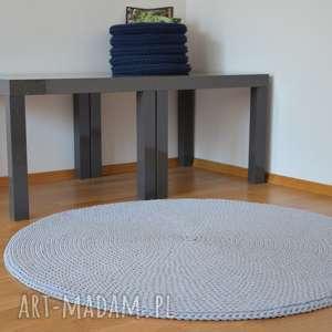 dywan okrągły ze sznurka bawełnianego - pleciony na szydełku jasnoszary 100 cm