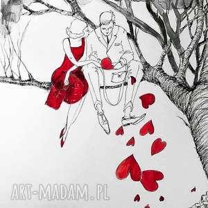 PARA NA DRZEWIE praca akwarelą i piórkiem artystki plastyka Adriany Laube, akwarela