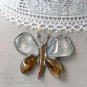 wisiorek motyl kryształowo-miodowy, cytryn, kryształ górski, motyl