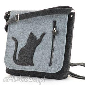na ramię nowa listonoszka z kotkiem, kotek, kot, filc, listonoszka, filcowa, torebka