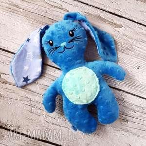 Niebieski królik - maskotka przytulanka, królik, haft, maskotka, miś