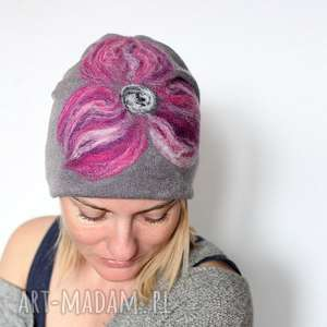 czapka handmade wełniana z kwiatem, czapka, wełna, etno, kolorowa, kwiaty, merynosy