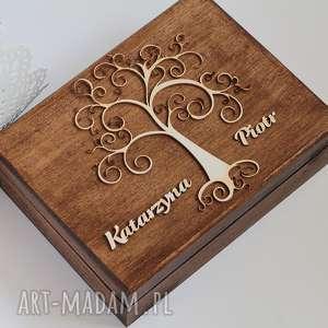 Pudełko na obrączki - drzewo, drewno, koronka, pudełko, obrączki, rustykalne, eko