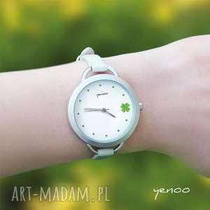 zegarek, bransoletka - koniczynka, bransoletka, skórzana, koniczynka