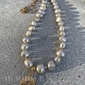 Naszyjniki zgustem naszyjnik z-perłami, perły naturalne, szare