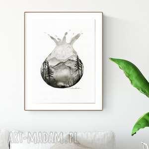 dom grafika 30x40 cm wykonana ręcznie, abstrakcja, elegancki minimalizm, obraz