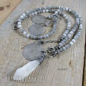kamień księżycowy z labradorytem -komplet 455, labradoryt