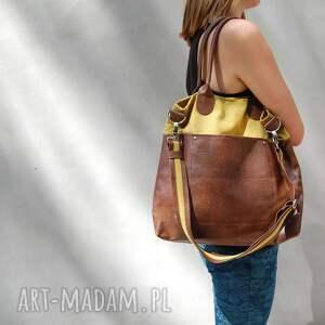 fiella - duŻa torba - musztarda z brĄzem - shopper, wygodna, praktyczna, duża