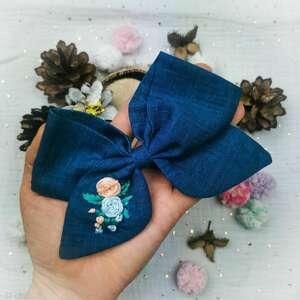 Róże na niebieskim ozdoby do włosów liliraj kokarda, spinka