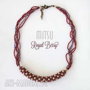 naszyjnik royal berry, toho, turecki, sznur, eleganckie, bordowe, rękodzieło