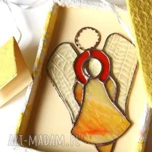 witrażowy anioł grażyna złota, anioł, witraż, prezent, chrzest, komunia, szczęście