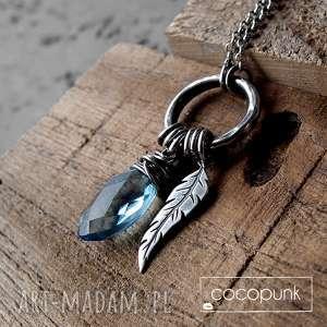 handmade naszyjniki kropleka z piórkiem - srebro i kwarc london blue