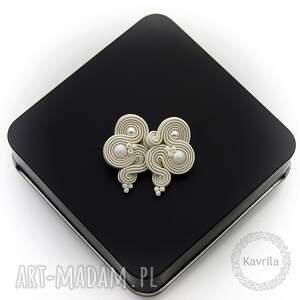 kolczyki ślubne mini pearl soutache, sutasz, mini, krótkie, ślub, ivory