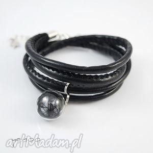 czarne piórko - bransoletka owijana, bransoletka, piórko, rzemienie