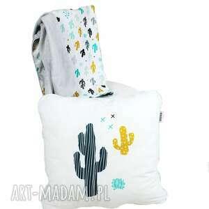 Zestaw dla niemowlaka kaktus, kocyk minky i poduszka dekoracyjna