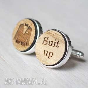 hand made spinki do mankietów drewniane suit