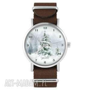 zegarek - zimowy, choinka brązowy, nylonowy, zegarek, nylonowy pasek