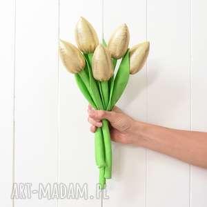 Złote tulipany, kwiaty, tulipany-z-materiału, bukiet, bukiecik, złote