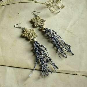 niebieskie lniane kolczyki z odciskiem koronki, lniana biżuteria