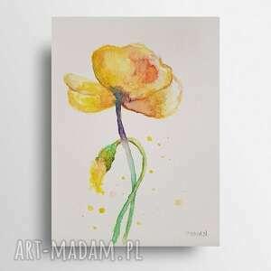 żółty kwiatek - akwarela formatu a5, akwarela, papier, kwiatek
