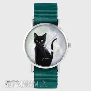 zegarek yenoo - czarny kot morski, nato, zegarek, pasek, kot, unikatowy