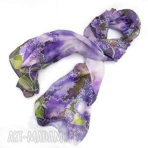 Fioletowy szal jedwabny kwiaty bzu, ręcznie malowany chustki