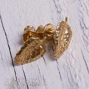 Złocone listki- kolczyki a092 , kolczyki, oryginalne, złote, srebrne