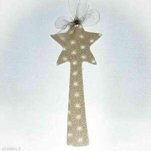 zawieszka porcelanowa gwiazdka - ozdoby choinkowe święta, dekoracja