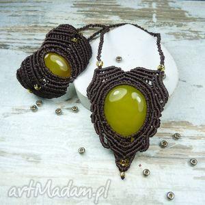 komplet biżuterii z agatem brazylijskim - makrama, agat