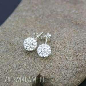 kolczyki kryształki w srebrze, kolczyki, srebrne, kulki, kryształki, błyszczące