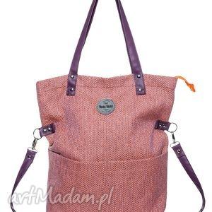 handmade na ramię limitowana edycja torba damska cube jodełka pomarańcz