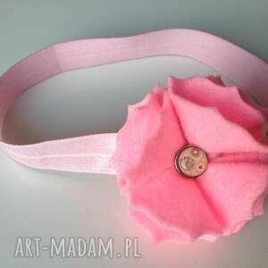 dla dziecka opaska niemowlęca - różowe fale, prezent, roczek, sesja, chrzest