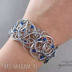 bransoleta z agatem brazylijskim, wire wrapping, stal chirurgiczna