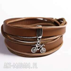 podwójna z rowerkiem, skóra, rzemienie, rowerek, podwójna, posrebrzane, prezent