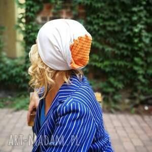 czapka damska szara z pomarańczem dzianina miękka sport-box as-czapka