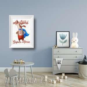 plakat a3 super hero, wystrój, wnętrza, ściana, pokój, dziecięcy, dekoracja