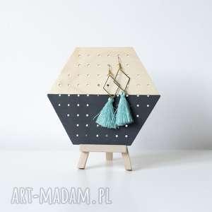 dom black wood heks mini drewniany stojący organizer na kolczyki, ekspozytor